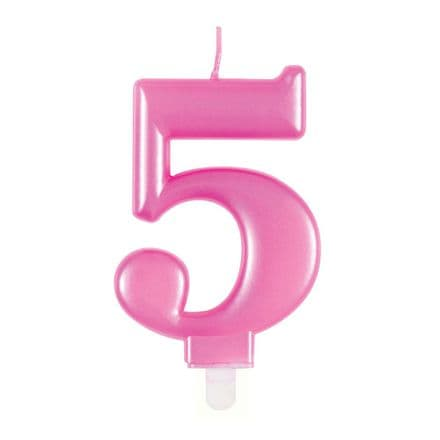 Number Five Pink Metallic Birthday Cake Candle