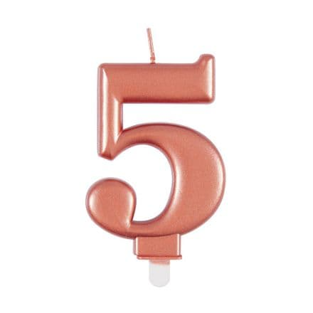 Number Five Rose Gold Metallic Birthday Cake Candle