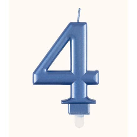 Number Four Blue Metallic Birthday Cake Candle