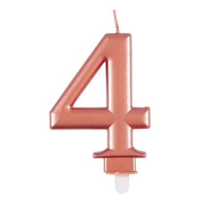 Number Four Rose Gold Metallic Birthday Cake Candle