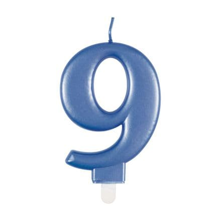Number Nine Blue Metallic Birthday Cake Candle
