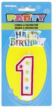 Number One 1 Birthday Cake Candle With Topper