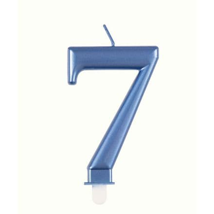 Number Seven Blue Metallic Birthday Cake Candle