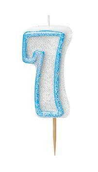 Number Seven Glitz Birthday Cake Candle