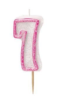 Number Seven Pink Glitz Birthday Cake Candle