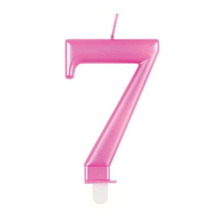 Number Seven Pink Metallic Birthday Cake Candle