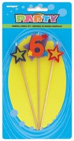 Number Six 6 Number Stars Birthday Cake Candles