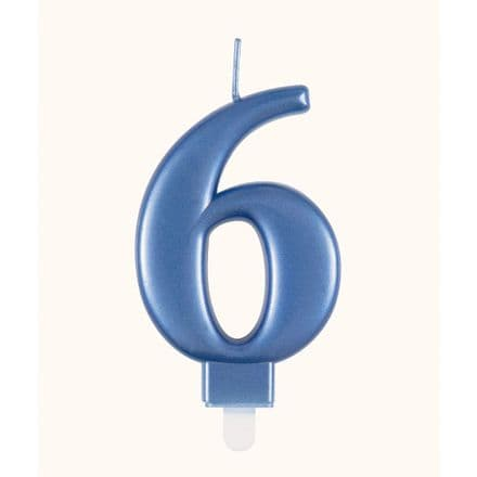 Number Six Blue Metallic Birthday Cake Candle