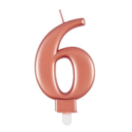 Number Six Rose Gold Metallic Birthday Cake Candle