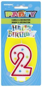 Number Two 2 Birthday Cake Candle With Topper