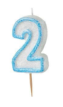 Number Two Glitz Birthday Cake Candle