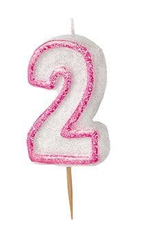 Number Two Pink Glitz Birthday Cake Candle