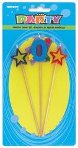 Number Zero 0 Number Stars Birthday Cake Candles