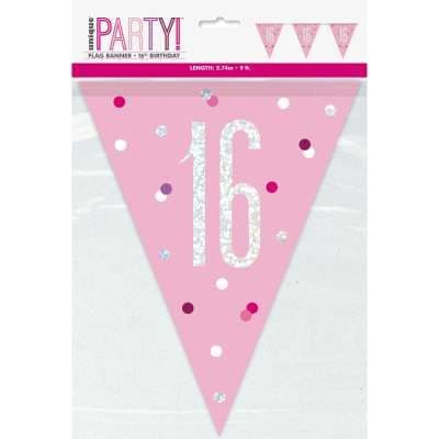 Pink Glitz '16th' Birthday Flag Banner