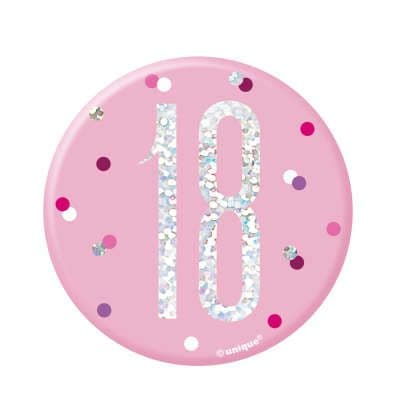 Pink Glitz '18' Birthday Badge
