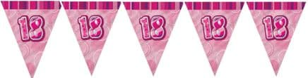 Pink Glitz '18th' Birthday Flag Banner