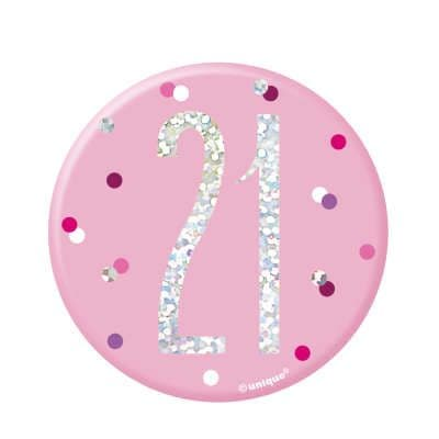 Pink Glitz '21' Birthday Badge