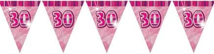 Pink Glitz '30th' Birthday Flag Banner