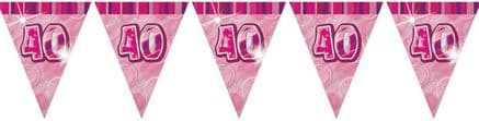 Pink Glitz '40th' Birthday Flag Banner