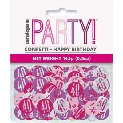 Pink Glitz 40th Birthday Party Confetti 14g