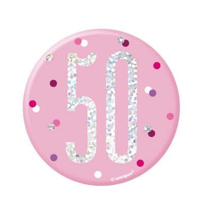 Pink Glitz '50' Birthday Badge