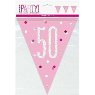 Pink Glitz '50th' Birthday Flag Banner