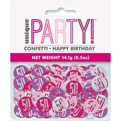 Pink Glitz 50th Birthday Party Confetti 14g