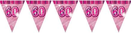 Pink Glitz '60th' Birthday Flag Banner