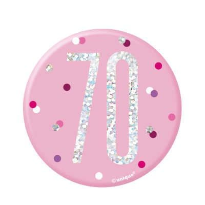 Pink Glitz '70 ' Birthday Badge