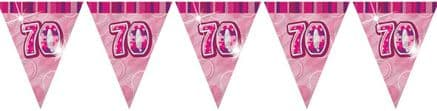Pink Glitz '70th' Birthday Flag Banner