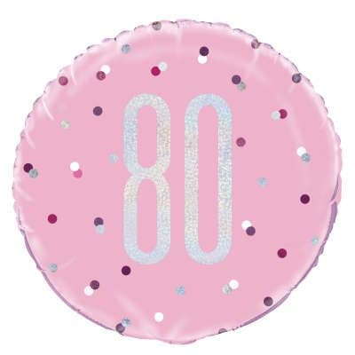 Pink Glitz '80th' Foil Balloon