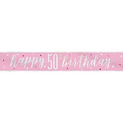 Pink Glitz 'Happy 50th Birthday' Banner
