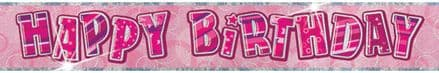 Pink Glitz 'Happy Birthday' Banner