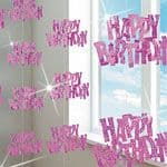 Pink Glitz 'Happy Birthday' Hanging Decoration
