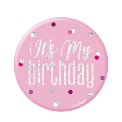 Pink Glitz 'It's My Birthday' Badge