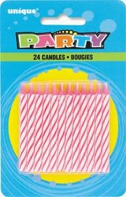 Pink Striped Birthday Cake Candles 24 Pack