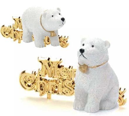 Polar Bear with Merry Chirstmas Cake Topper