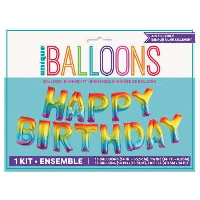 Rainbow Ombre 'HAPPY BIRTHDAY' Mini Letters Air-Fill Foil Balloons.