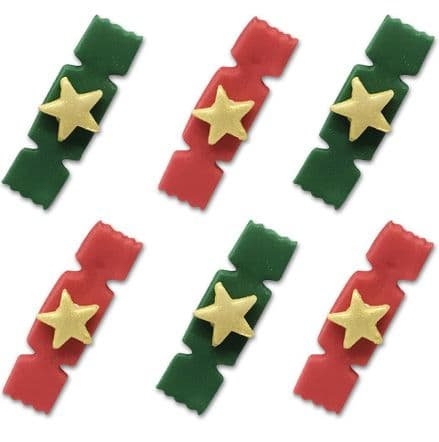 Red and Green Xmas Crackers Sugar Decorations