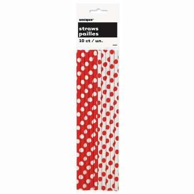 Red and White Polka Dot Print Paper Drinking Straws