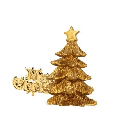 Resin Gold Tree with Merry Chirstmas Cake Topper
