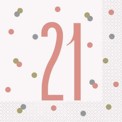 Rose Gold Glitz '21' Paper Party Luncheon Napkins
