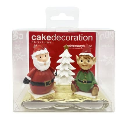 Santa and Elf Cake Toppers & Gold Cake Band Set
