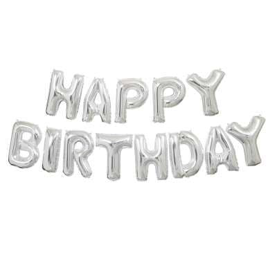 Silver 'HAPPY BIRTHDAY' Mini Letters Air-Fill Foil Balloons.