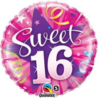 Sweet 16 Shining Star Hot Pink Foil Balloon