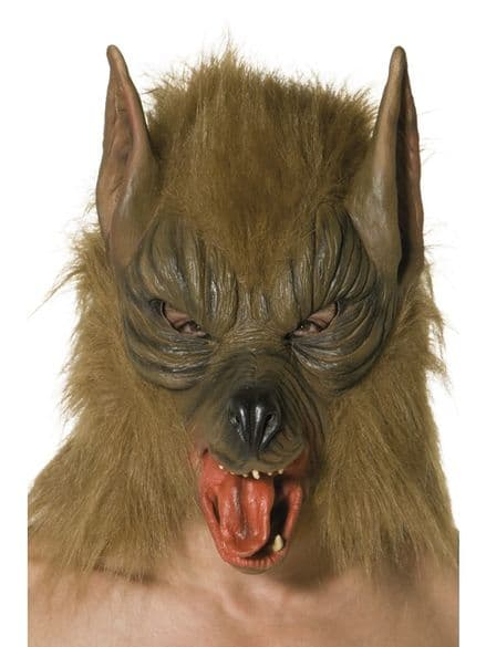 Wolf Full Over Head Mask - Brown