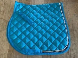 Gp Saddle Cloth With Diamante Crystals Turqoise Light Blue