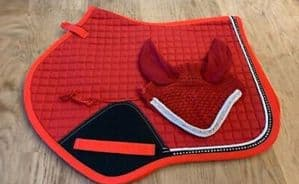 Jumping Cut Saddle Cloth Numnah With Fly Veil Dimante Diamond Red