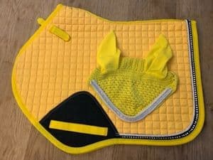 Jumping Cut Saddle Cloth Numnah With Fly Veil Dimante Diamond Yellow