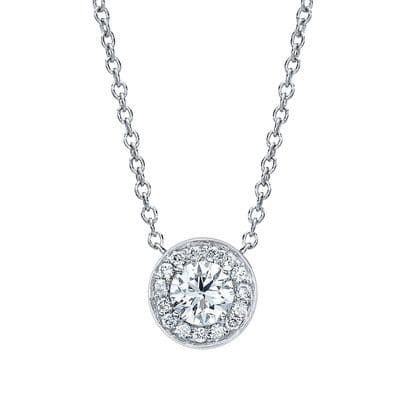 0.6ct Diamond & 18ct White Gold Halo Necklace
